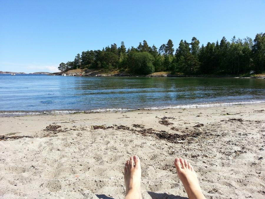 Strand beim Campingplatz Moysand (Grimstad)