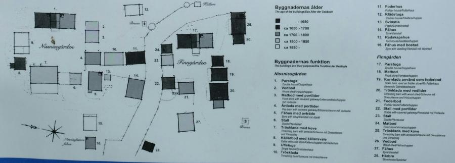 Tafel zu Gammelstan im Dorfgebiet Norrboda