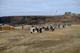 Surf-Lernende an der Playa del Castillo