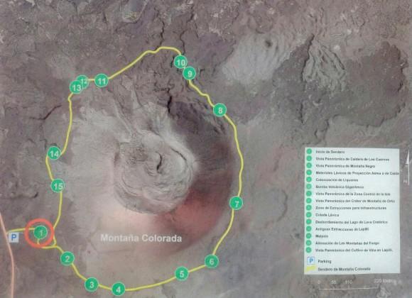 Rundweg um die Montaña Colorada mit den 15 Schautafeln