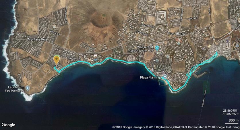 Westlicher Teil der Promenade von Playa Blanca