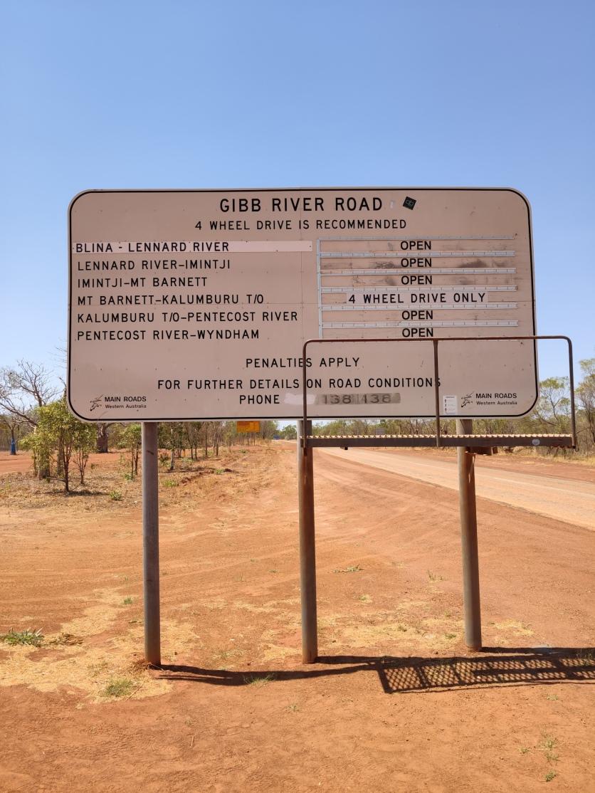Westliches Ende der Gibb River Road (Strassenschild)