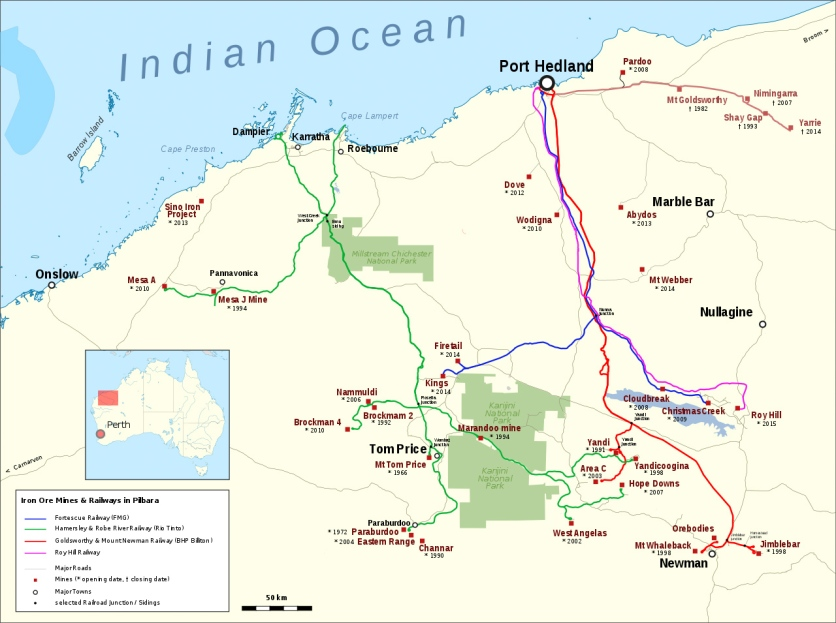 Eisenerz-Minen und -Eisenbahnen in der Pilbara