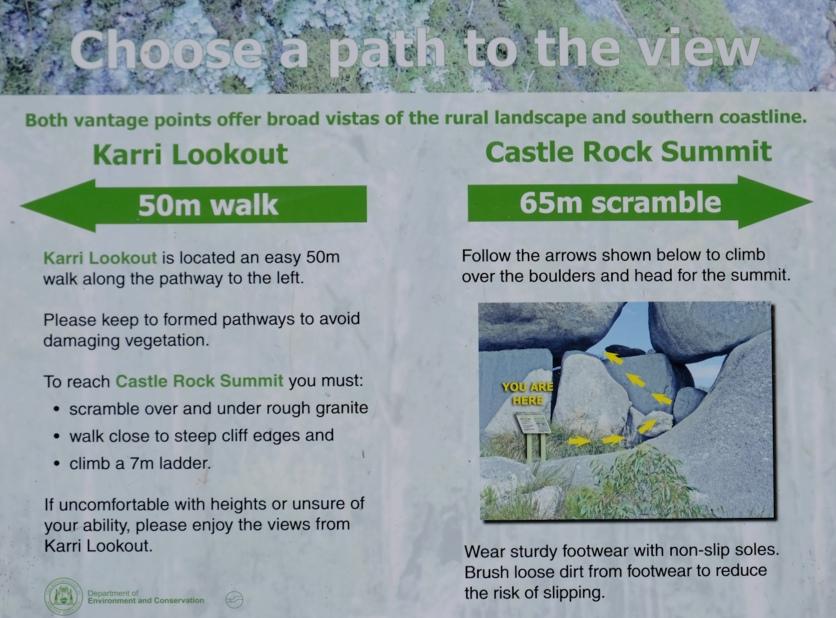 Wegauswahl Castle Rock Summit