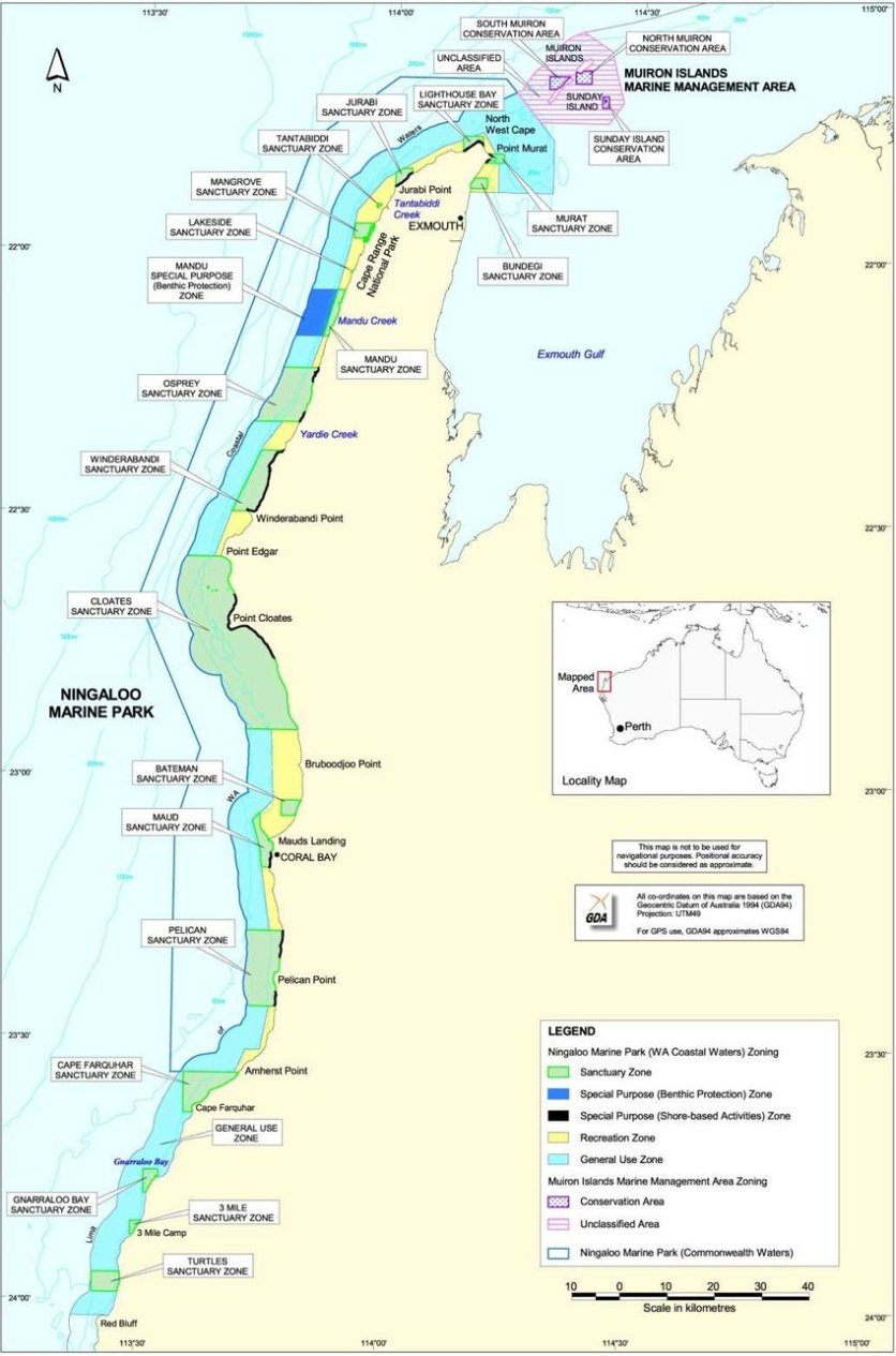 Map of Ningaloo Marine Reserves