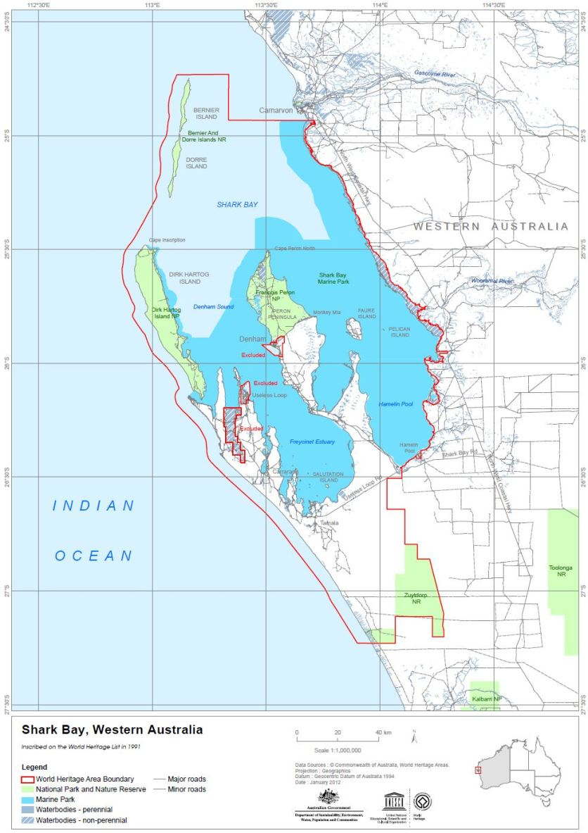 Map of Shark Bay Marine Park