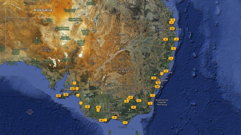 Reiseroute Australien 2010